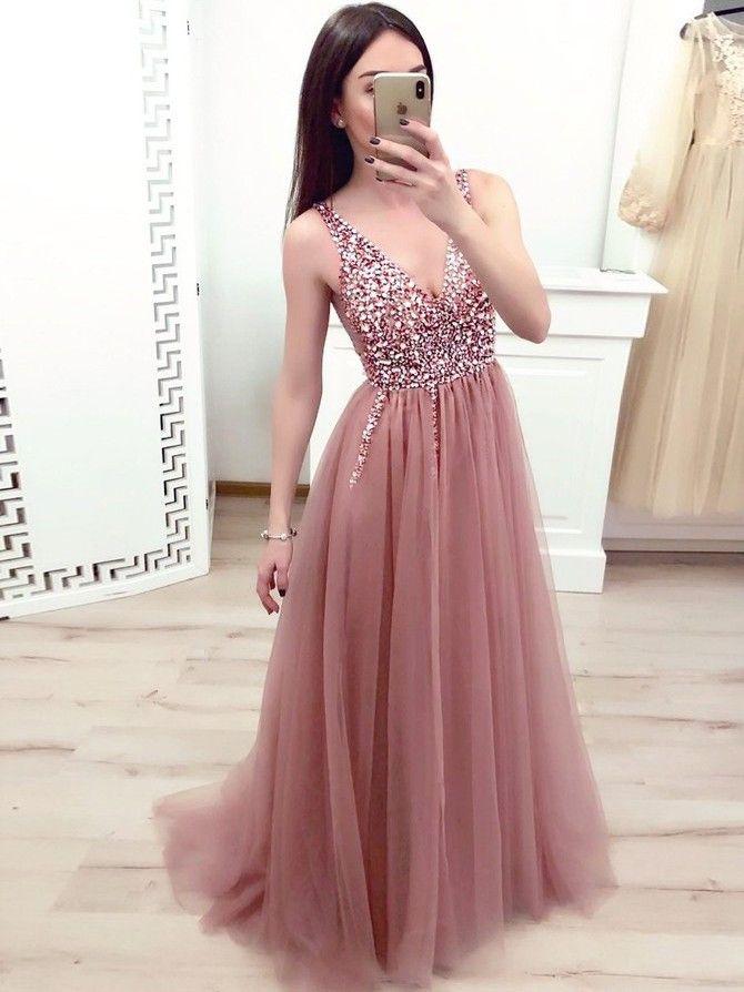 Langes Abendkleid aus Tüll mit V-Ausschnitt und Strass – Hochzeit