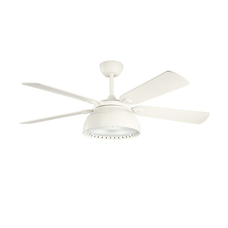 This Vance collection 54-inch 4-blade ceiling fan features a satin natural white finish. It has satin white blades with a 14 degree pitch and a integrated light with white etched glass. This attractive fan will compliment many contemporary decors.