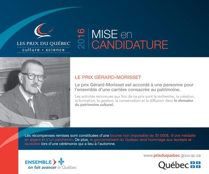 Proposez une candidature pour le prix Gérard-Morisset en patrimoine d'ici le 1er avril 2016. #PrixduQuébec #CultureQc