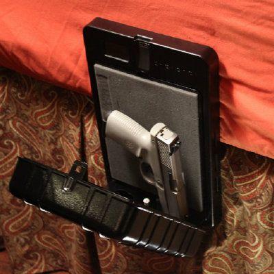 armsreach bedside biometric gun safe with quick access fingerprint gun holster technology
