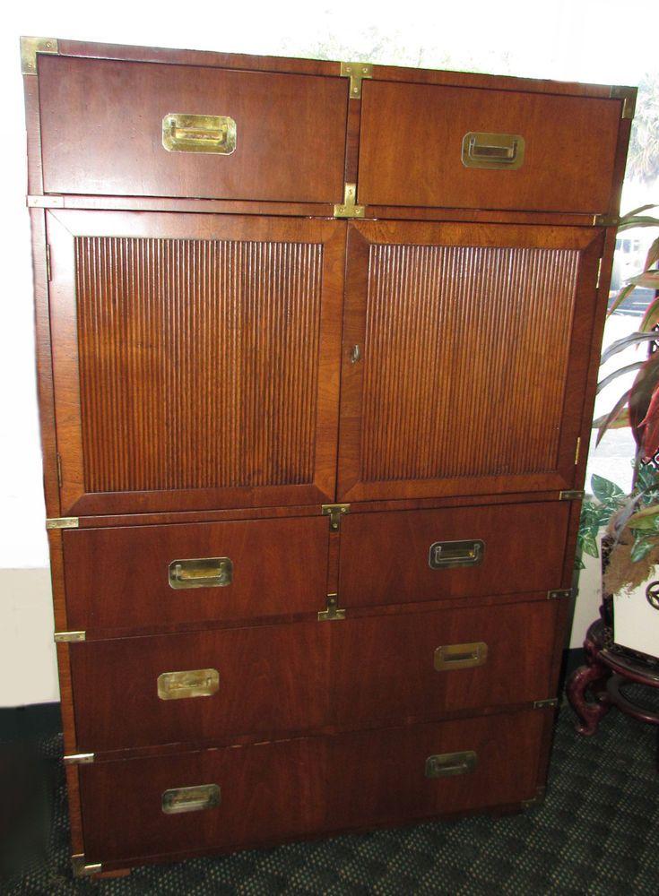 Vintage Mid Century Henredon Campaign Style Gentleman S Chest Tall Dresser