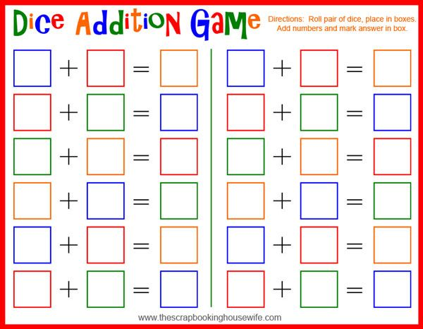 Dice Addition Math Game For Kids Free Printable Math Center