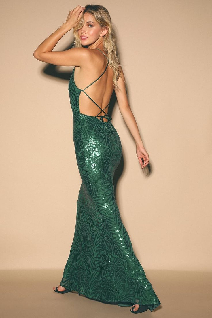 Demetria emerald green sequin backless maxi dress in 2020