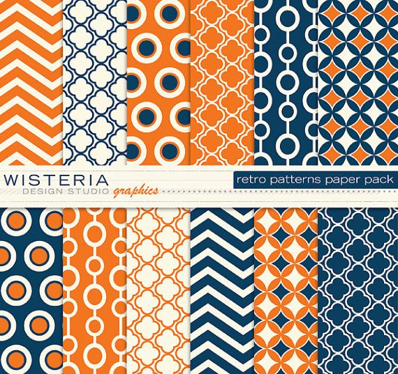 Retro Patterns Paper Pack 11 x 14 Blue by WisteriaDesignStudio