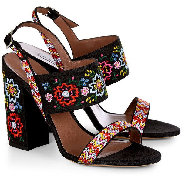 Tabitha Simmons Black Embroidered Senna Festival Heels ($700) ❤ liked on Polyvore featuring shoes, heels, woven leather shoes, block heel shoes, black caps, leather shoes and floral shoes
