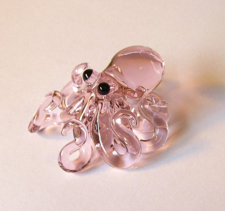 Small Glass Octopus pendant Transparent Pink by EmergentGlassworks, $27.00