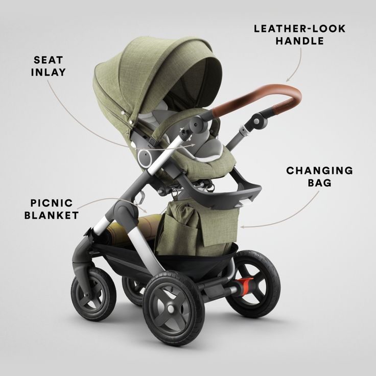 The Stokke Trailz Limited Edition stroller in Nordic Green is outfitted with everything you need for adventures with baby