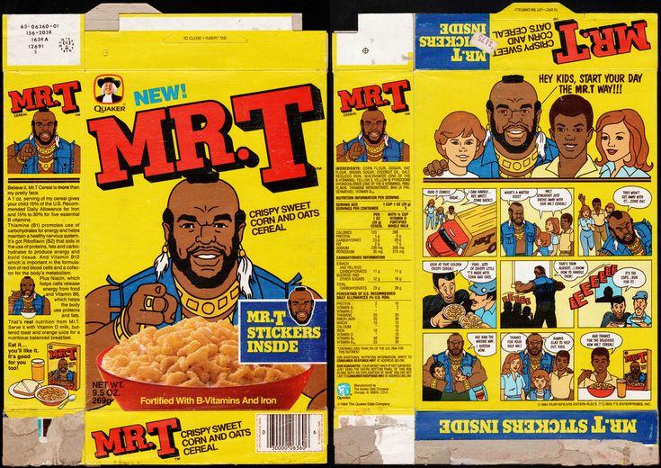 Quaker cereal boxes   Quaker – Mr. T cereal box – Mr. T Stickers – 1984