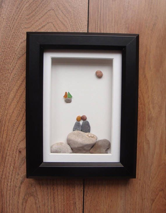 Pebble Art Picture, Christmas Gift, Sailboat, Nautical Art, Sea View, Marine Decor, Engagement Gift, Wedding Gift, Couples Gift, Wall Art
