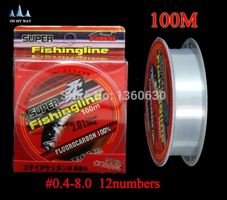 high quality Fishing Line Brand Super Strong 100m Fluorocarbon  fishing line ocean boat&rock Fishing free shipping