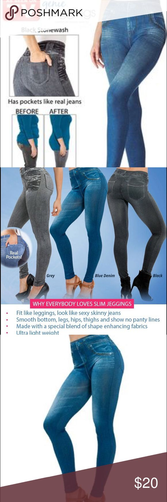 Set of two Genie Pajama Jeans Jeggings Shaping Stop sucking in your tummy to squeeze into your jeans.  Introducing Genie Slim Jeggings. They look like jeans but are as comfortable as leggings. Getting into skinny jeans has never been so easy and felt so good! One blue pair and one black pair can be bought separately or together. $10 each or $20 together. genie Jeans Skinny