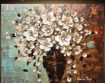 Trama originale pittura astratta Still Life pittura a olio fiore bianco Bouquet vaso Impasto spesso mista arte contemporanea da Susanna