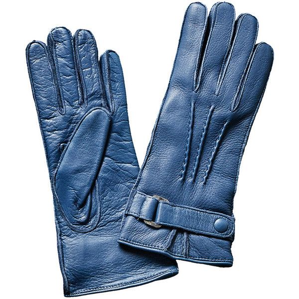 Portolano Uniform Blue Deerskin Gloves ($130) ❤ liked on Polyvore featuring accessories, gloves, nocolor, deerskin gloves, portolano, portolano gloves, deer leather gloves and blue gloves