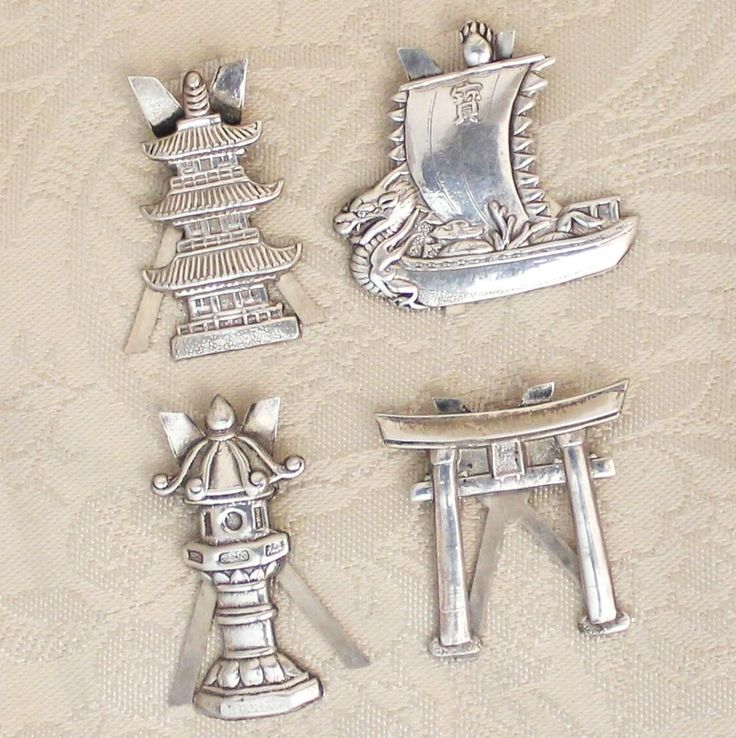Four Japanese Sterling Place Card or Menu Holders Vintage Solid Silver Pagoda Dragon Ship Lantern Shinto Gates..