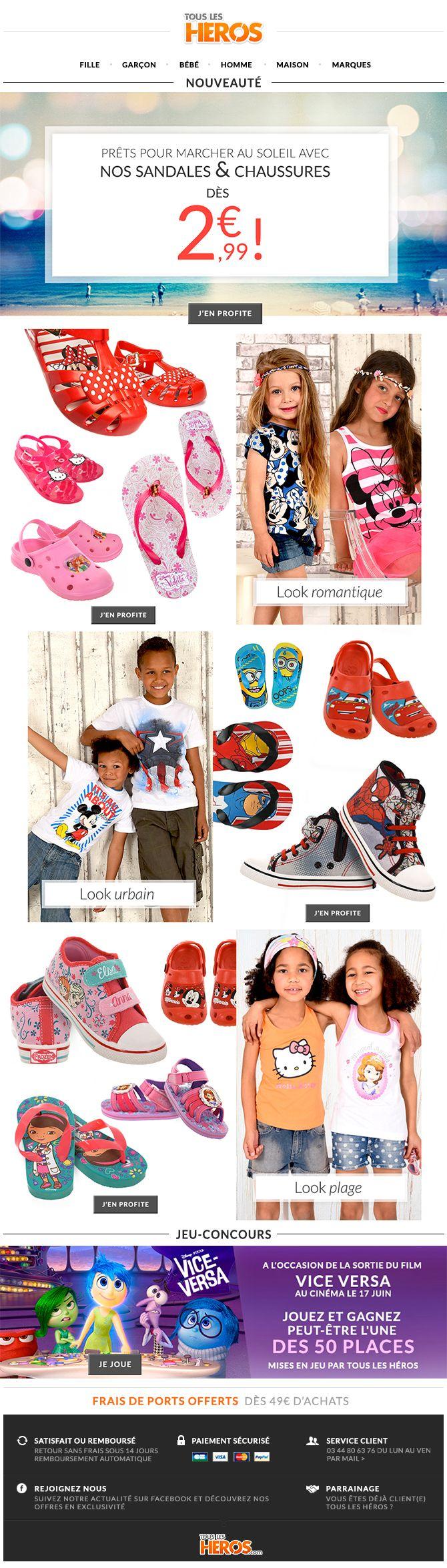Cette semaine sur www.tous-les-heros.com, découvrez notre gamme de sandales et chaussures d'été à #petitsprix, mais aussi nos looks d'été !  Et tentez de gagner des places de #cinéma pour aller voir #ViceVersa ! #mode #enfants #modeenfants #modeàpetitprix #touslesheros #superheros #heros #lesminions #minions #disney #jeuconcours #quizz #modeété #collectionété