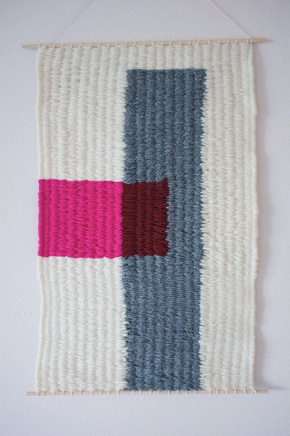 Hand Woven Wall Hanging Pink Block 11 x 17 by magnapaint on Etsy