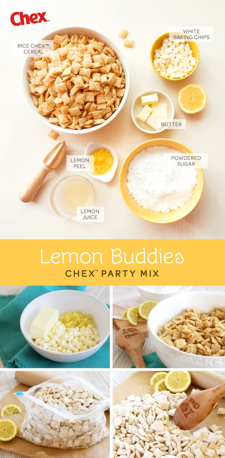 One of our all-time favorite and popular snacks; Lemon Buddies! 6 ingredients including Gluten Free Rice Chex. Perfect for a summer time treat or in wedding and party favors too!