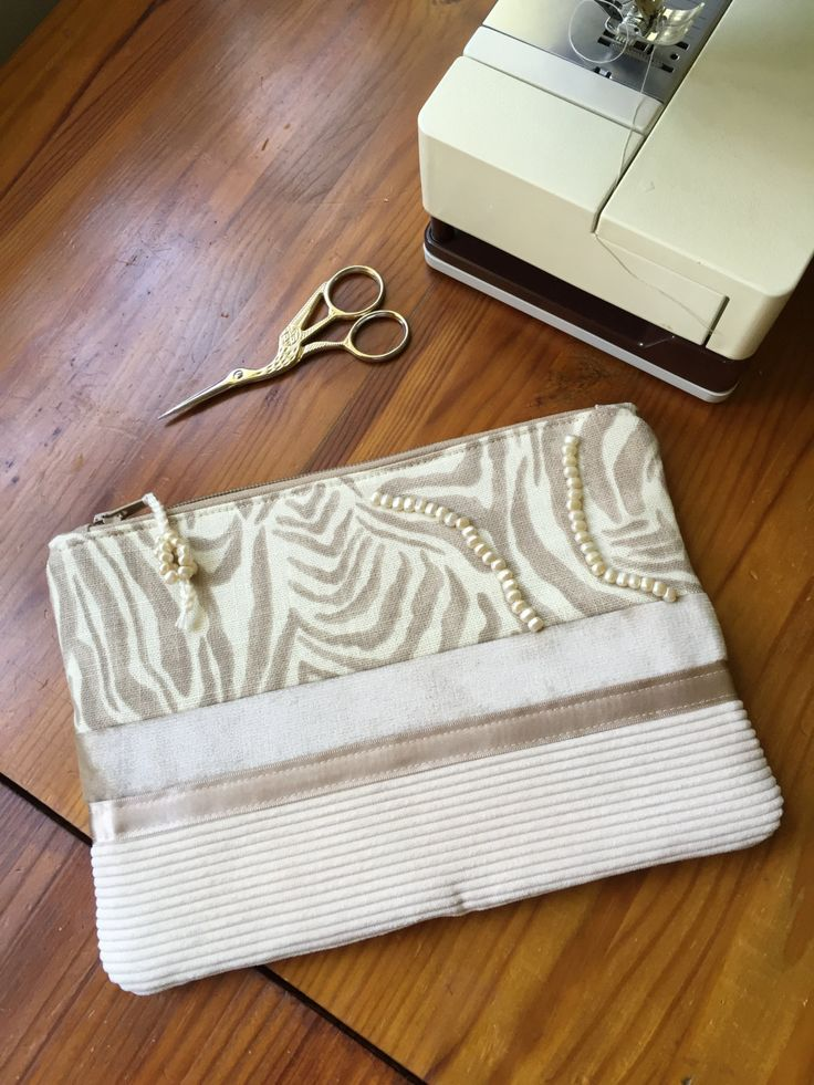 Clutch Purse Three Panel Cream and Beige Zebra print fabric with beadwork by EverSewNice on Etsy