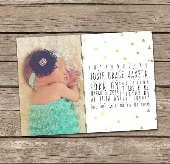 Photo Birth Announcement : Printable Custom Aztec by deanworks
