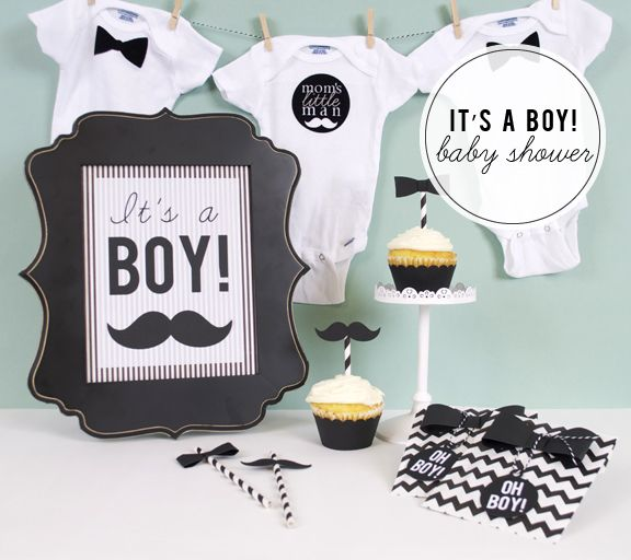 Silhouette Blog: DIY Party Week :: It's a BOY, Baby Shower. Bow ties yes, mustaches no.  I just don't get the popularity of this trend!