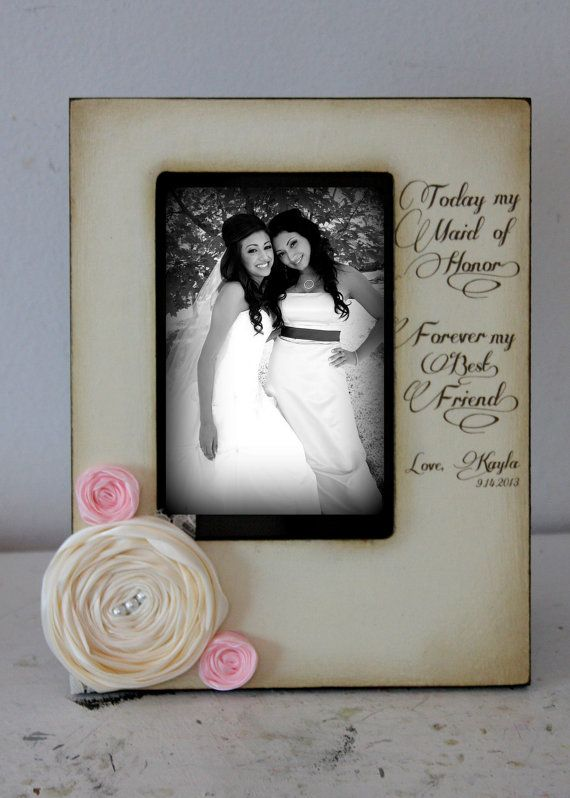 Antiqued Rustic Vintage Wedding Maid of Honor Bridesmaid Cousins Picture Frame Keepsake 4x6 Gift Personalized Flowers Colors Diamonds Pearls