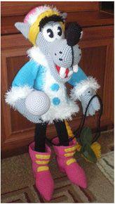 """Волк-снегурочка из мультфильма """"Ну, погоди!"""" вязаный крючком. Авторская игрушка. Описание."""