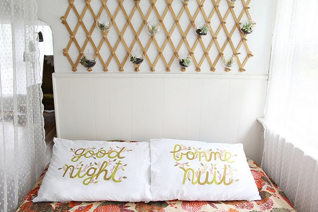 Good night pillow covers and wall planters