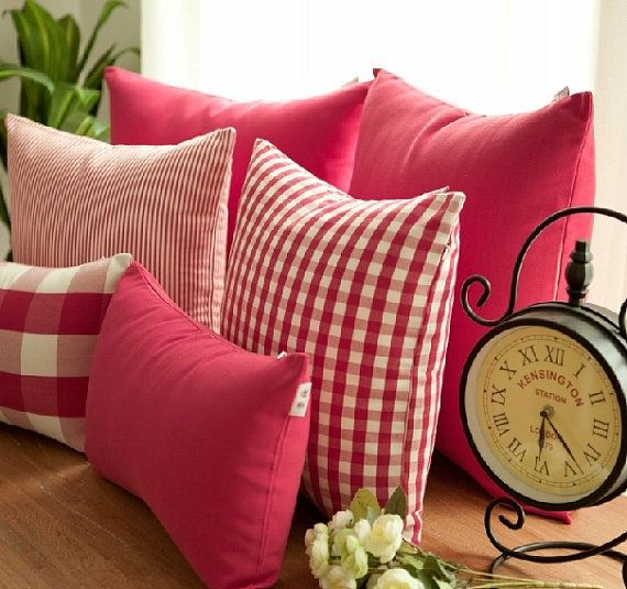 French Country Check Stripe Red Decorative Pillows Cushion