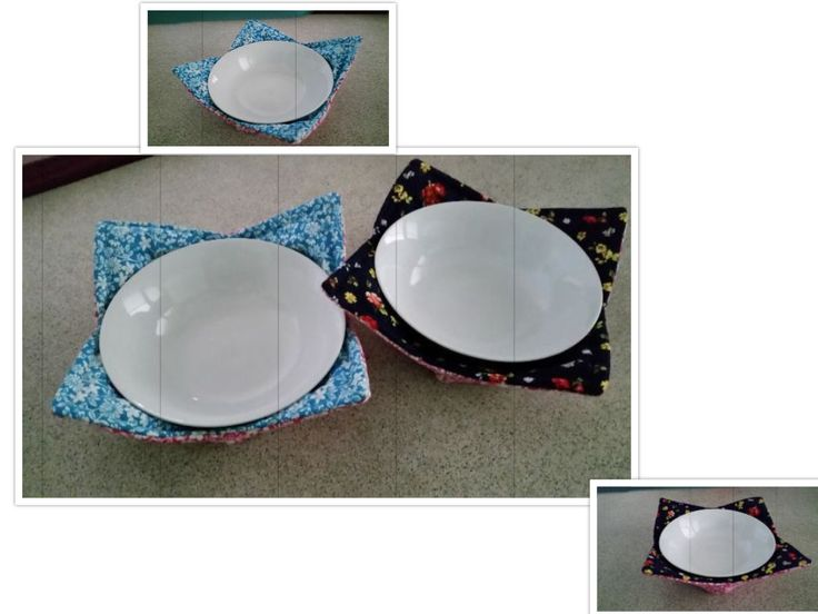 Bowl Holders. Hot food on your lap. Not any longer, easy to sew