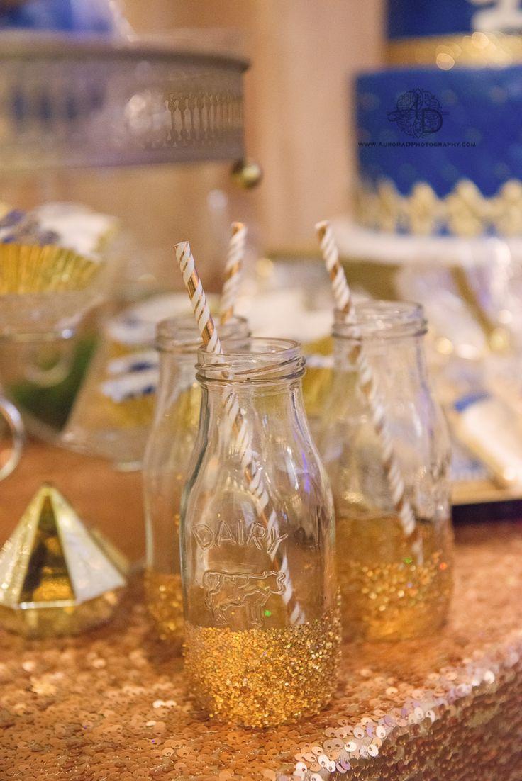 Gold Glitter Bottles For Dessert Table. Royal Themed Baby Shower. Itu0027s A  Boy!