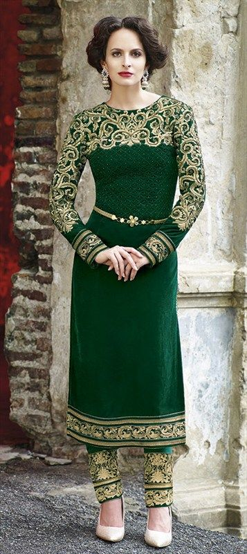 403851: #salwarkameez #embroidery #green #coloroftheyear #ethnicwear