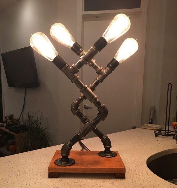 Lampe tube fer industriel w. ampoules Edison #1
