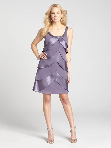 Chic satin and chiffon tiers make this dress a red carpet-approved option for your special occasion. Pair it simple pumps or pretty wedges for a Spring look that's appropriate to wear all season long