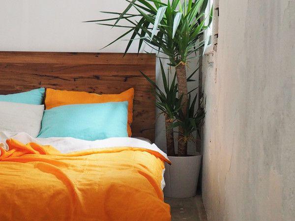 Dove Grey + Tangerine Linen Duvet Set - 100% French flax linen