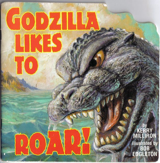 Fantastic kiddie picture book, Godzilla and his pals frolic on Monster Island