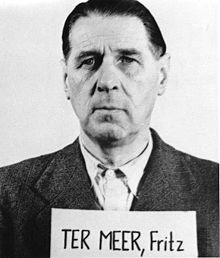 From 1925 to 1945 Fritz ter Meer was on the board of IG Farben AG. He was involved in the planning of Monowitz concentration camp, a satellite camp of KZ Auschwitz. Fritz ter Meer was sentenced to seven years in prison in the Nuremberg Trials in 1948. After he was released in 1951 he became supervisory board chairman (Aufsichtsratsvorsitzender) of Bayer AG.