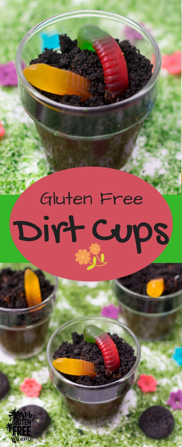 Creamy pudding, crunchy cookies and gummy worms, these gluten free dirt cups are a fun way to celebrate Earth Day! via @GLUTENFREEMIAMI