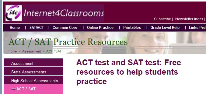 ACT / SAT Practice Resources.    ACT test and SAT test: Free resources to help students practice.  On this page you will find numerous links to help students practice the ACT and SAT tests.  There are tutor sites, practice exam sites, online test prep resources, reading passages, practice questions, vocabulary building, math review and more.