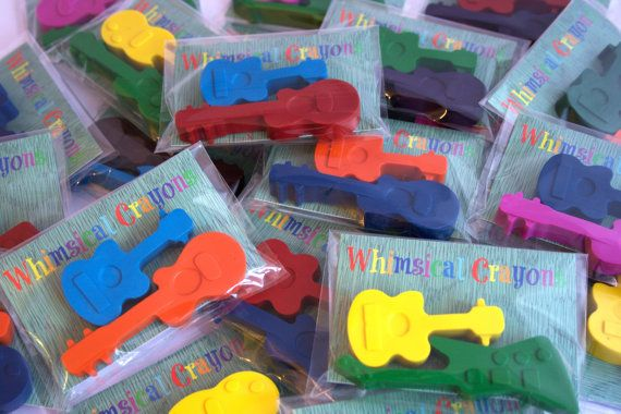 Guitar Crayon Party Favours - 10 x Twin Pack Rock Guitar Party Favours - Rock / Festival Themed Party - Party Favours - Music - Kids Crafts