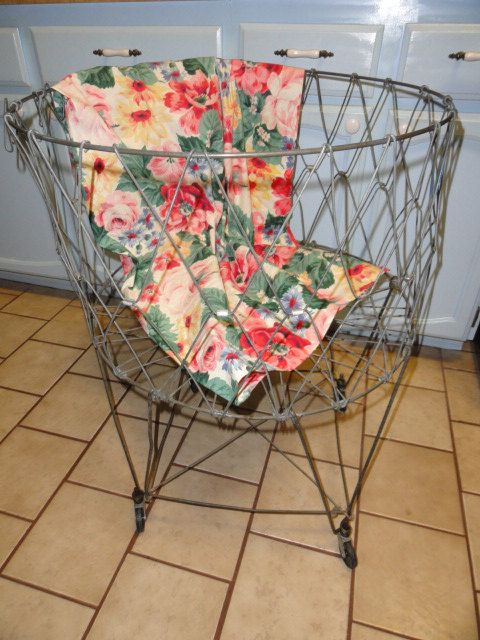 Vintage wire laundry basket rolling industrial metal for Laundry room baskets with wheels