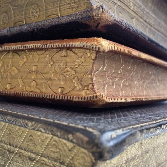 Old 19th century books with gauffered page edges .. Repeated patterns made using a heated tool