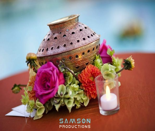 another view of indian pots / matlas incorporated into centerpiece (copyright Samson Productions)