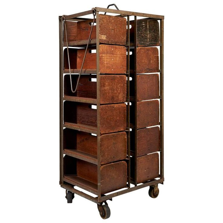 Phillies Rolling Cigar Racks, circa 1920-1940s | From a unique collection of antique and modern industrial furniture at https://www.1stdibs.com/furniture/more-furniture-collectibles/industrial-furniture/