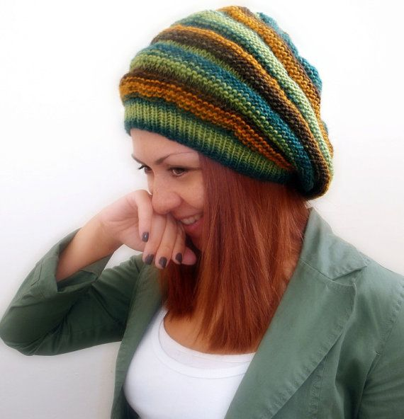 Extra slouchy green striped hand knitted hat women by Kikoa, $35.00