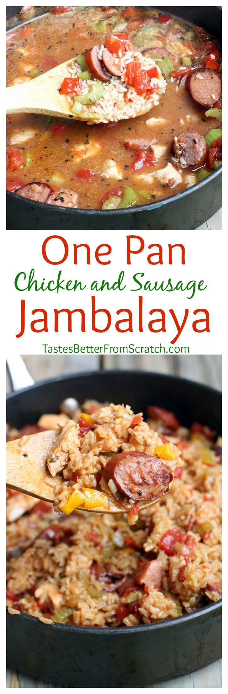 One Pan Chicken and Sausage Jambalaya recipe on MyRecipeMagic.com