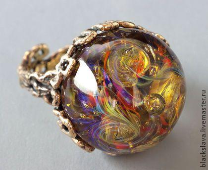 """Кольцо """"Огонь"""" - кабошон,стекло,лэмпворк,Анна Черных,античная латунь,авторская фурнитура"""