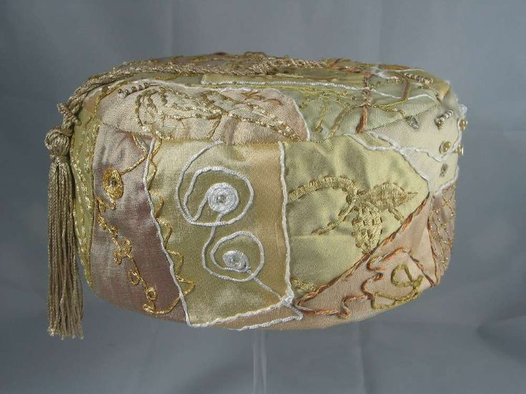 Handmade Smoking Cap - Lounging Hat - Crazy Patchwork Pure Silk Various Creams Embroidery With Beads