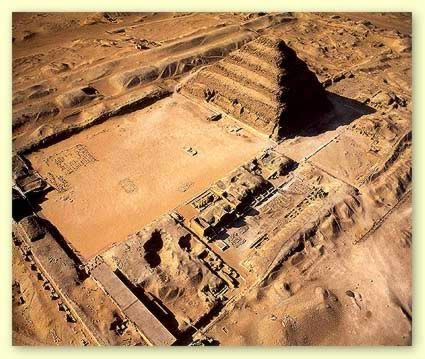 "Djoser (Zoser) Pyramid Complex at Saqqara in Egypt | Also known as ""The Step Pyramid"" or ""The First Pyramid""."