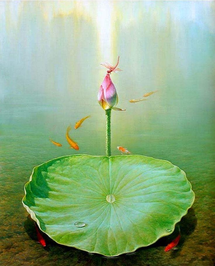 Jiang Debin, 1963 ~ Lotus watercolor | Tutt'Art@ | Pittura • Scultura • Poesia • Musica