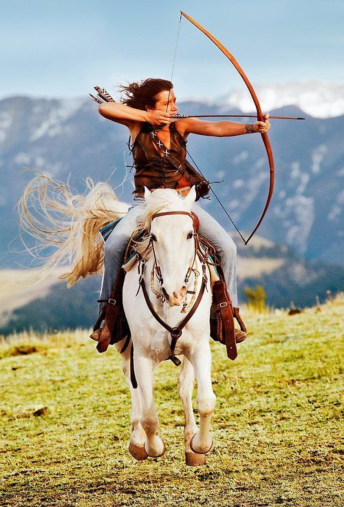 Mounted Archery ♥ @Kali Kerr Kerr Groves Groves...when I get a horse, we need to do this!!!!